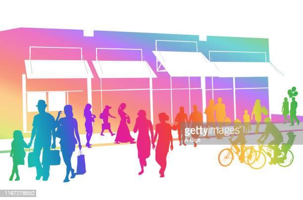 shopping crowd outdoor rainbows - pedestrian stock illustrations