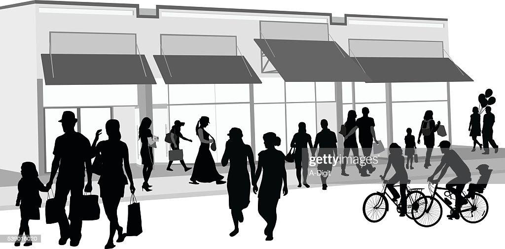 Publikum im Freien Einkaufen : Stock-Illustration