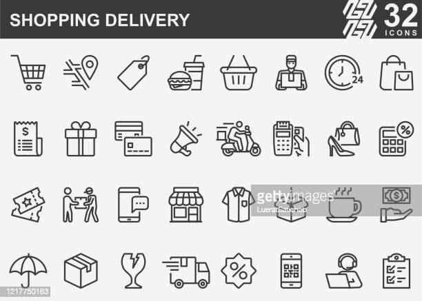 shopping delivery line icons - retail employee stock illustrations