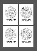 Shopping doodle illustration circle form on a4 paper wallpaper background line sketch style set eps10
