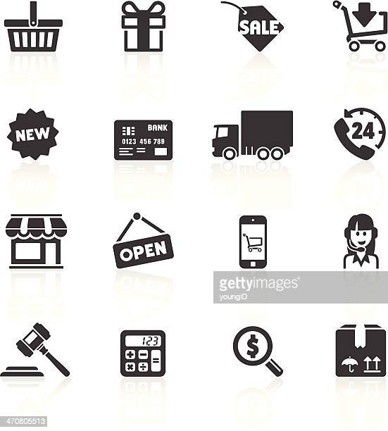 shopping & e-commerce icons 1 - small business stock illustrations