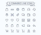 Shopping, e-commerce, online store, ecommerce vector thin line mini icons set. 24x24 Grid. Pixel Perfect.Editable stroke.