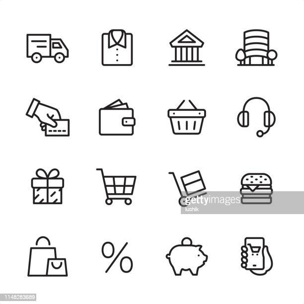 shopping & e-commerce - outline icon set - cash flow stock illustrations, clip art, cartoons, & icons