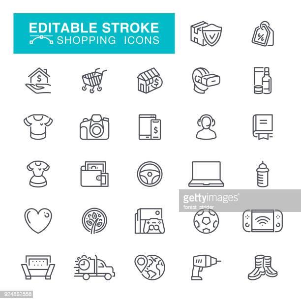 shopping editable stroke icons - hand truck stock illustrations, clip art, cartoons, & icons