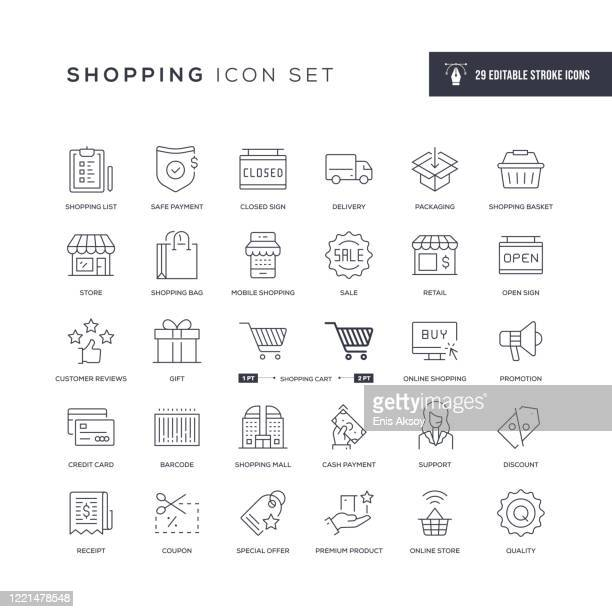 shopping editable stroke line icons - receipt stock illustrations