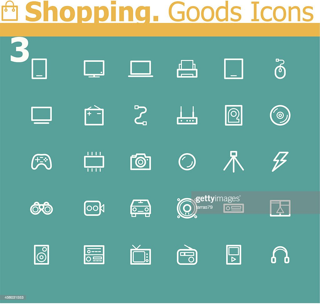 Shopping. Electronics icon set