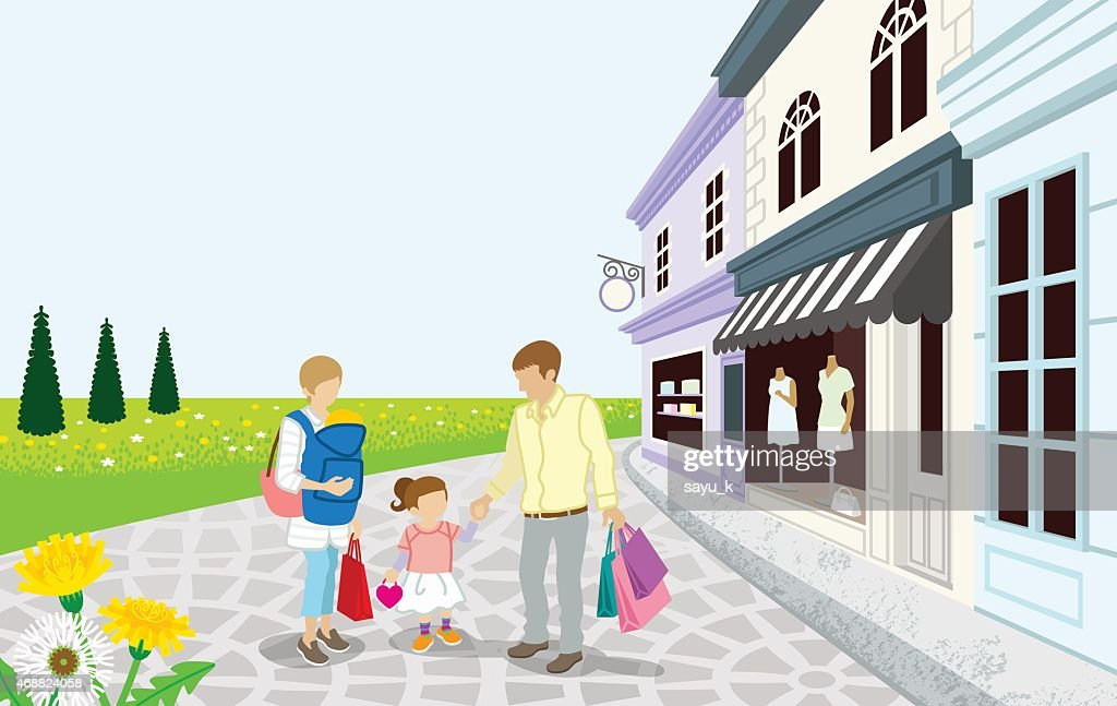 Shopping Family in Spring small town