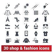 Shopping, Fashion And Retail Business Vector Icons