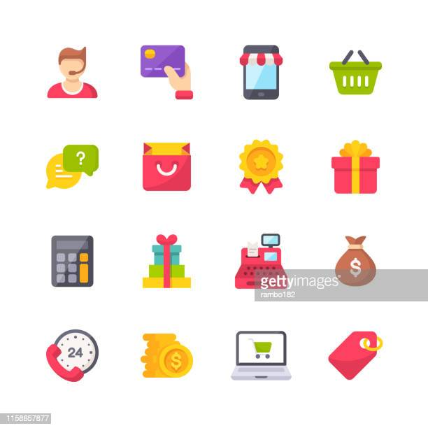 shopping flat icons. material design icons. pixel perfect. for mobile and web. contains such icons as support, e-commerce, mobile commerce, store, cash register, price tag, money bag. - shopping mall stock illustrations