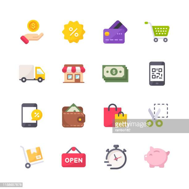 shopping flat icons. material design icons. pixel perfect. for mobile and web. contains such icons as credit card, store, pick up truck, shopping bag, piggy bank, money, shopping cart, wallet, mobile payments. - open sign stock illustrations