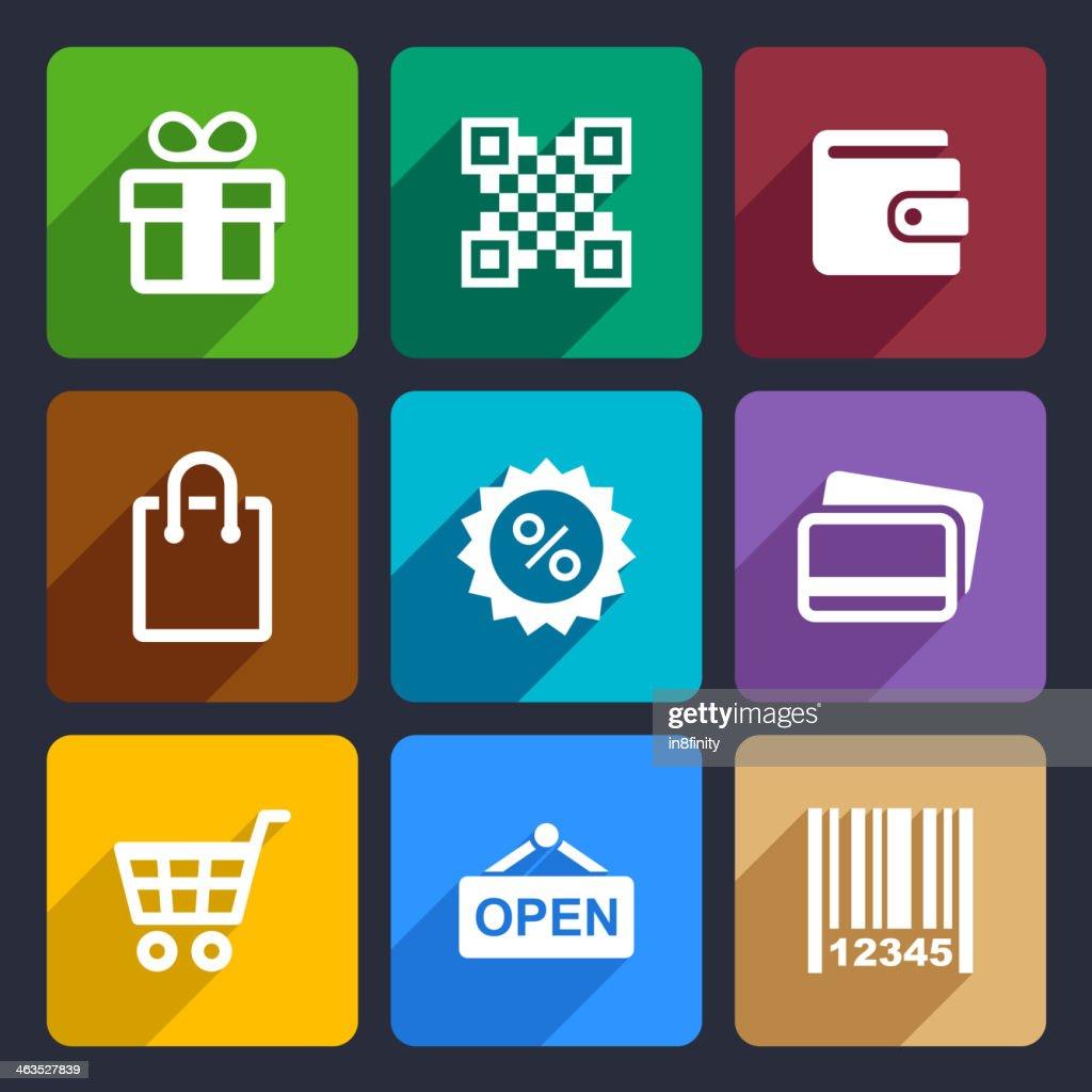 Shopping Flat Icons Set 35