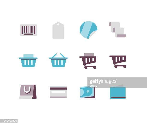 shopping flat icons - labeling stock illustrations, clip art, cartoons, & icons