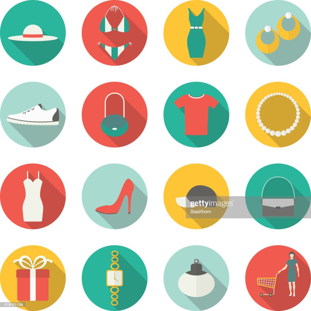 Shopping flat icons. Vector illustration