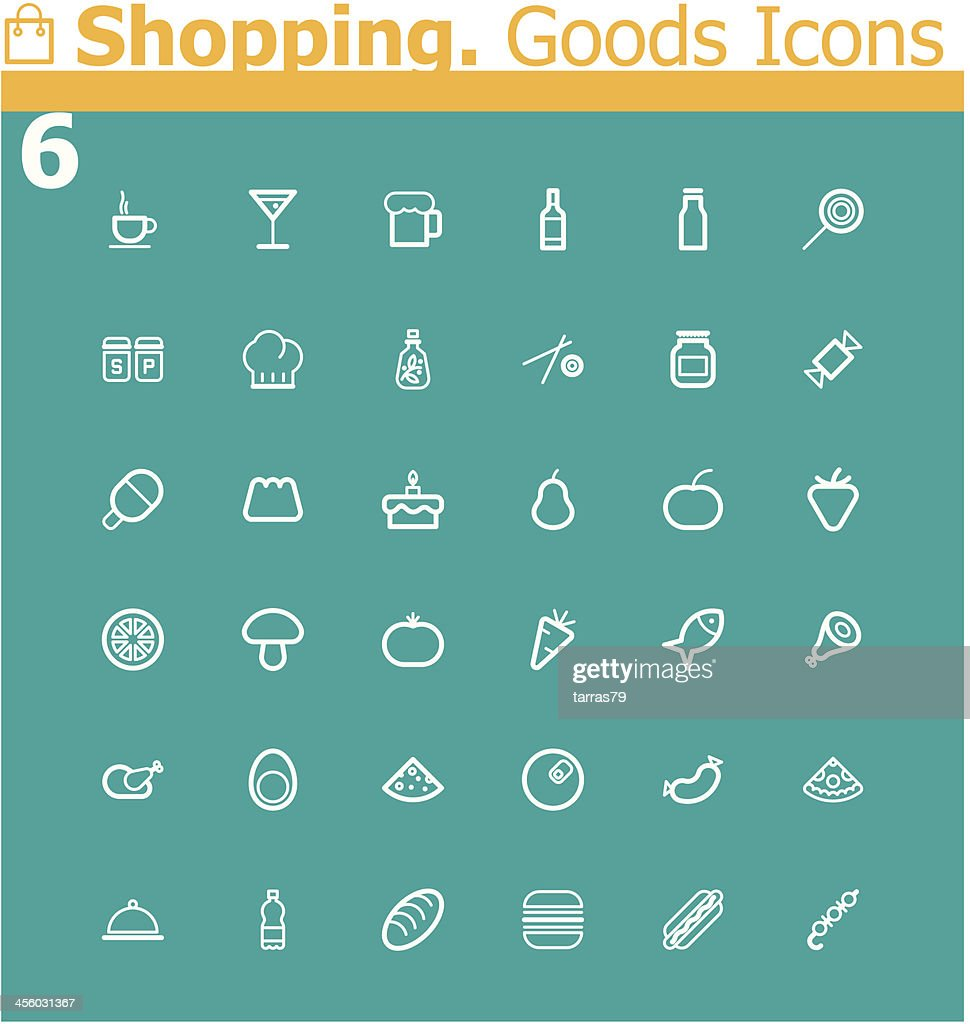 Shopping. Food icon set