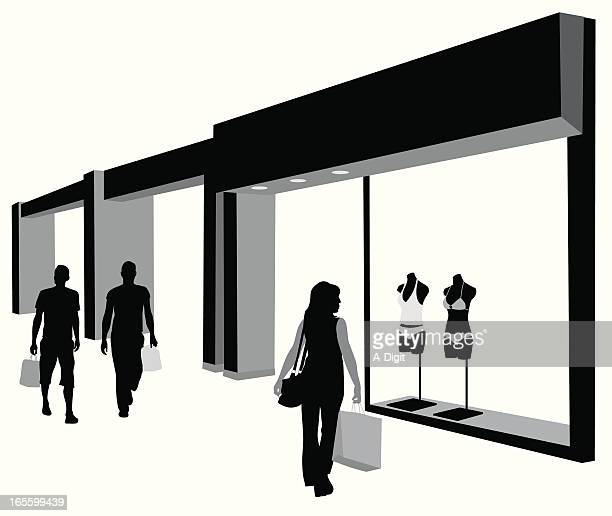 shopping for summer vector silhouette - shopping mall stock illustrations