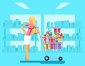 Shopping Girl shop cart purchase gift flat design character vector