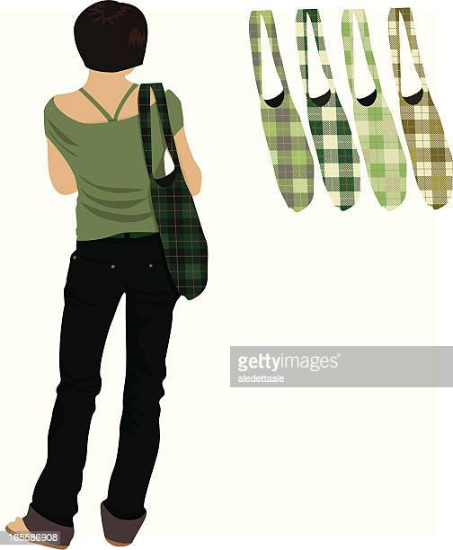 shopping girl - scottish tweed stock illustrations, clip art, cartoons, & icons