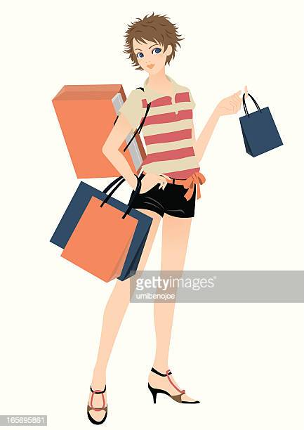 shopping girl. - rugby shirt stock illustrations, clip art, cartoons, & icons
