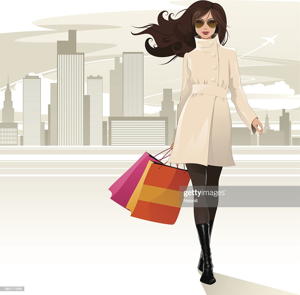 Shopping girl : stock illustration