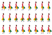 Shopping Girl walk cycle animation sprites, Loop animation.
