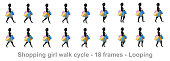 Shopping Girl Walk cycle