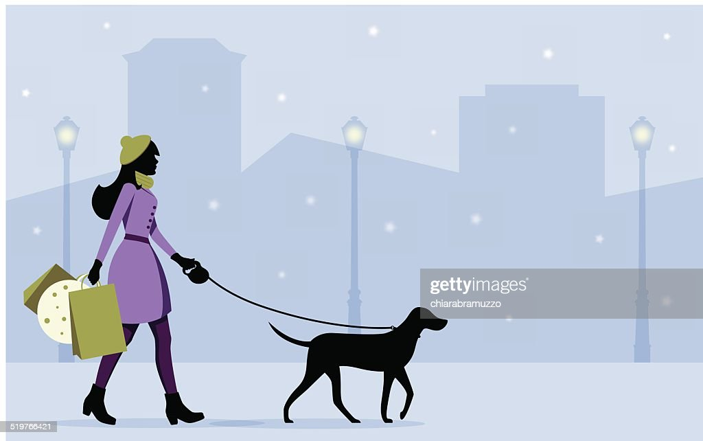 shopping girl with dog