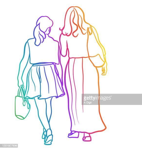 shopping girls pretty skirts rainbow - skirt stock illustrations