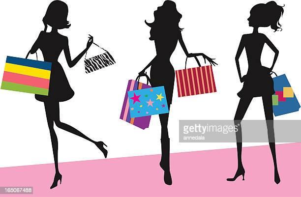 shopping girls - spending money stock illustrations, clip art, cartoons, & icons