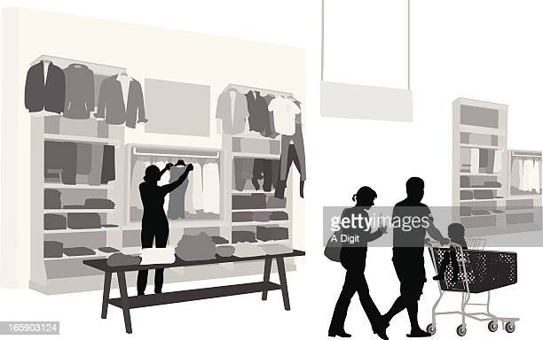 shopping habits vector silhouette - retail display stock illustrations