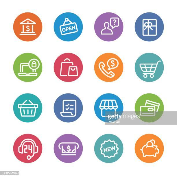 shopping icon set - circle line series - open sign stock illustrations, clip art, cartoons, & icons