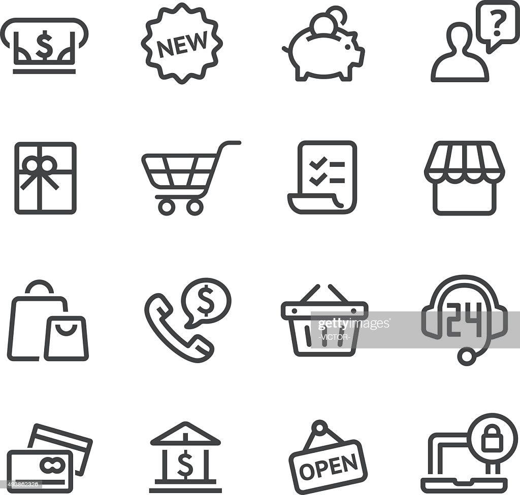 Shopping Icon Set - Line Series : stock illustration