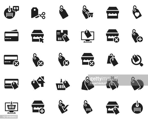 shopping icon set - price tag stock illustrations, clip art, cartoons, & icons