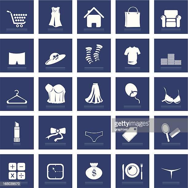 ilustraciones, imágenes clip art, dibujos animados e iconos de stock de conjunto de iconos de compras - tanga
