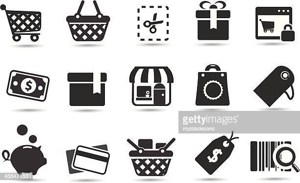 illustrations, cliparts, dessins animés et icônes de shopping icône ensemble - marchand
