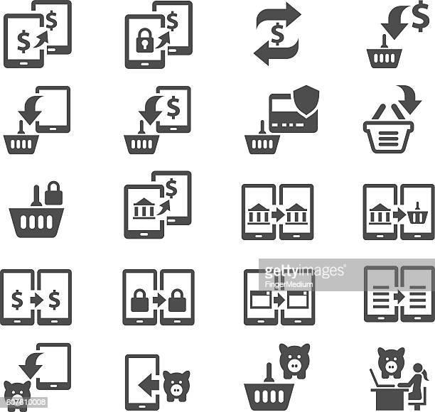 shopping icon set - transfer image stock illustrations