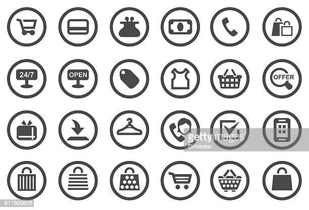 shopping icon set - ordering stock illustrations, clip art, cartoons, & icons