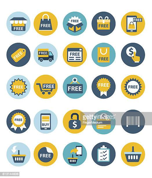 shopping icon set - free of charge stock illustrations