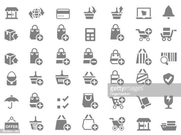 shopping icon set - plus sign stock illustrations, clip art, cartoons, & icons