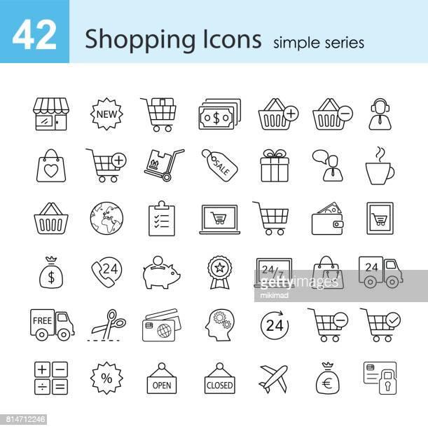 shopping-icon-set - handwagen stock-grafiken, -clipart, -cartoons und -symbole