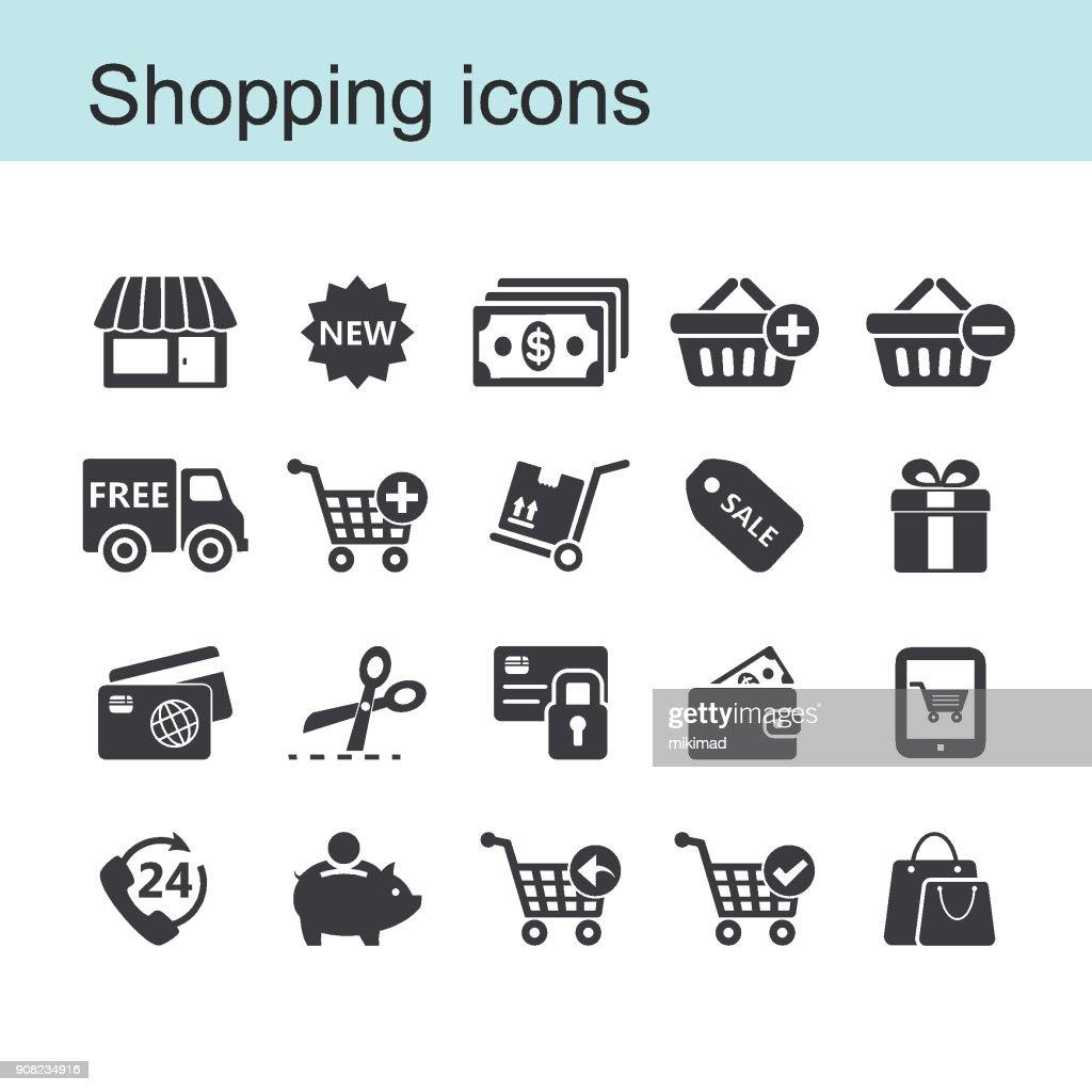 Shopping icon set : stock illustration