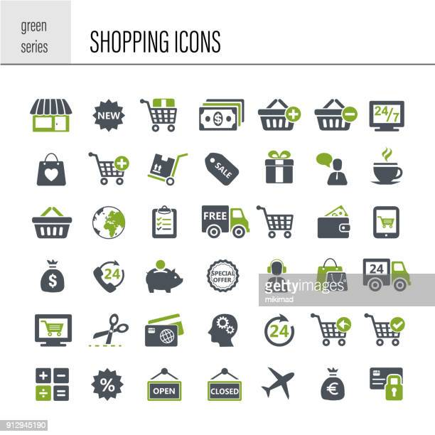 shopping icon set - consumerism stock illustrations