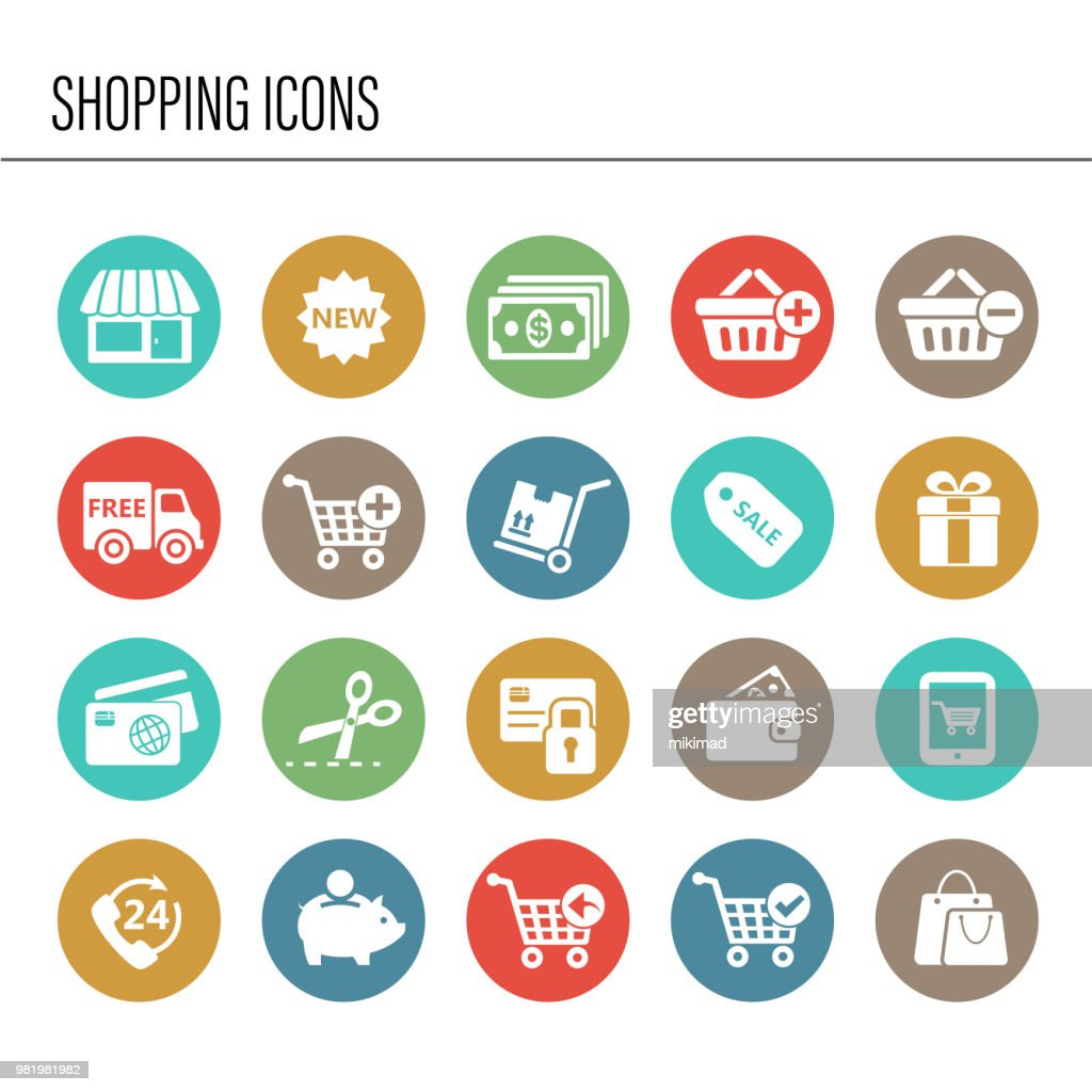 Shopping icon set : stock illustration