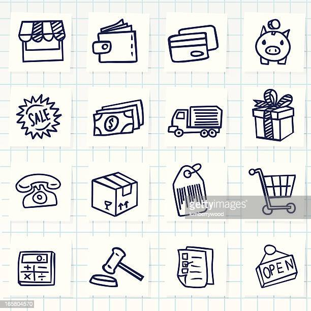 shopping icon - pencil drawing stock illustrations, clip art, cartoons, & icons
