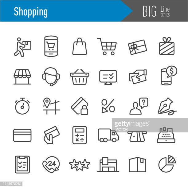 shopping icons - big line series - calculator stock illustrations