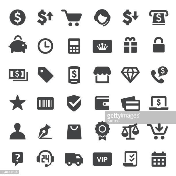 shopping icons - big series - consumerism stock illustrations