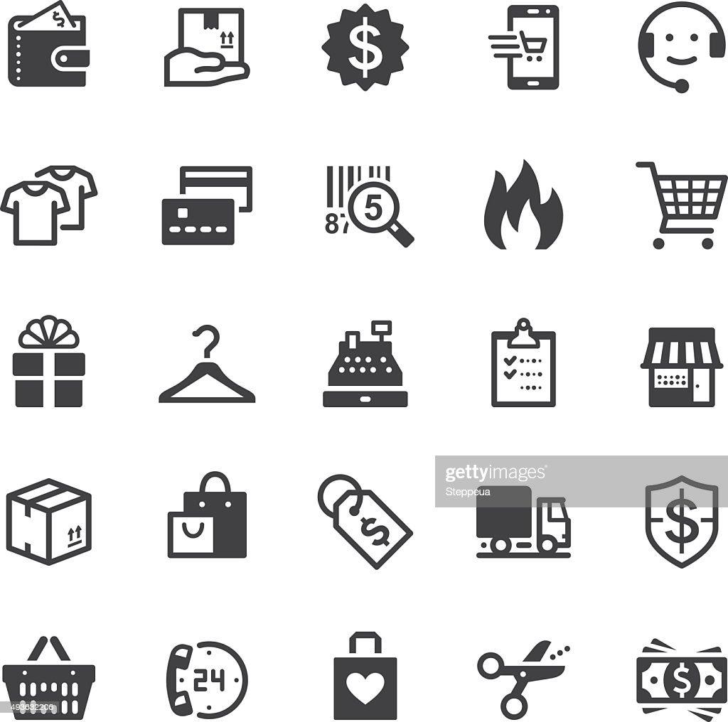 Shopping icons - Black series : stock illustration