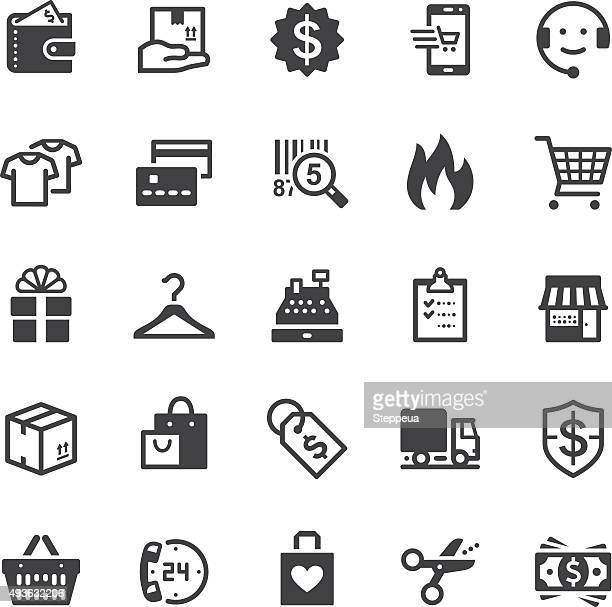 shopping icons - black series - consumerism stock illustrations