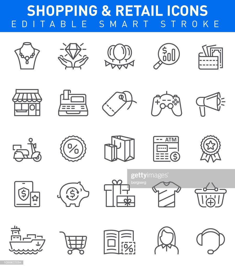 Shopping Icons. Editable stroke : stock illustration