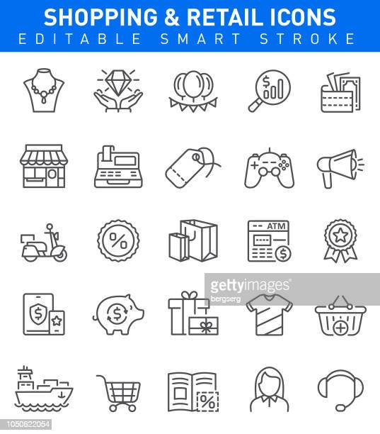 shopping icons. editable stroke - retail stock illustrations