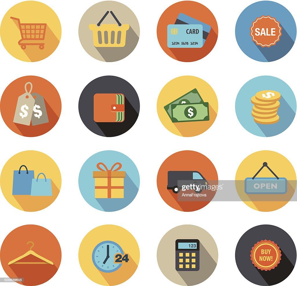 Shopping Icons Flat Design